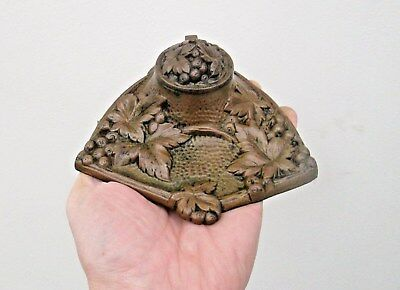 Antique Art Nouveau Brass or Bronze Inkwell Desk Stand - Very Ornate Decoration