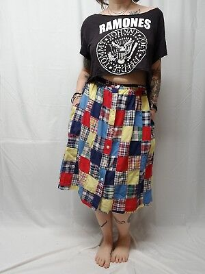 Vtg COURTWELL Madras Patchwork Plaid Button Front Skirt Primary Colors Women S/M