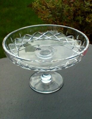 Royal brierley crystal, Oxford cut, small cake stand, footed dish, signed.