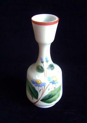 Victorian Enamelled White Opaque Glass Vase with flowers for decoration