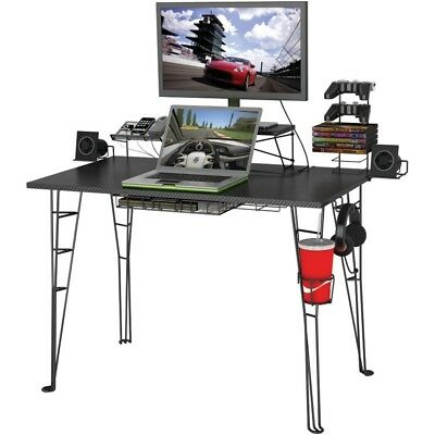 Computer Desk Home Office Workstation Table Gaming And Task Chair Set In  Black