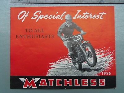The 1956 Matchless  Genuine Original  Motor Cycle Brochure  ....
