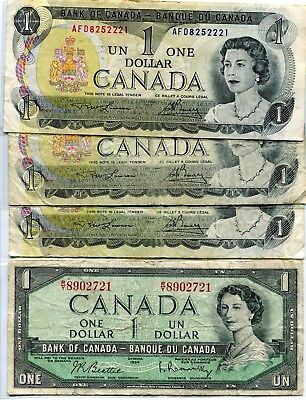 Un One Dollar Bank of Canada (lot of 3) and Un One Dollar Bank of Canada 1954