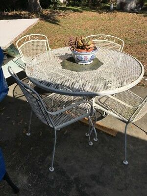 Vintage Wrought Iron Outdoor Patio Dining Set Table 4 Chairs Meadowcraft Woodard