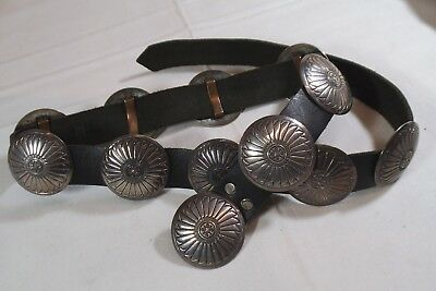 "Southwest Handmade Sterling Silver 12 Concho Black 1"" wide Leather Belt 31.5"""