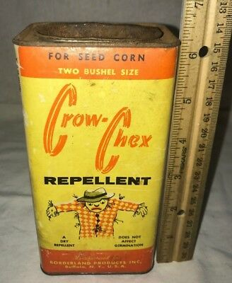 Antique Scare Crow Chex Bird Repellent Vintage Seed Corn Farm Tin Buffalo Ny Can