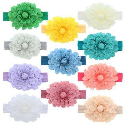 Cute Baby Headband with Jumbo Fresh Flower Soft Stretchy & Pretty Great Color