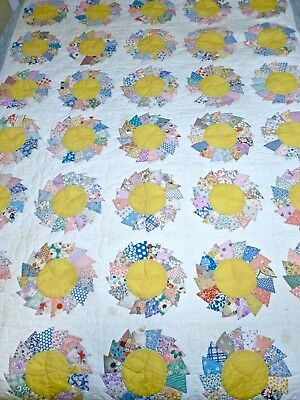 Antique Vintage Patchwork Quilt Hand Sewn Daisy Pinwheel Pattern Feed Sack 82X92