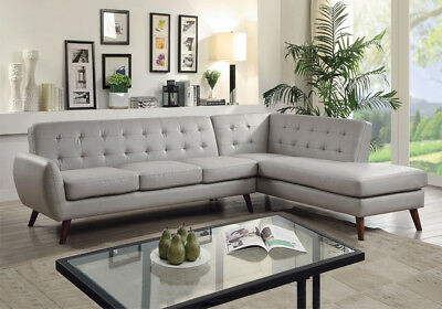 ESSICK MODERN MID-CENTURY Sectional Couch Sofa Gray Tufted PU Leather Wood  Leg
