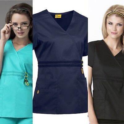 New Women's Wonderwink Mesh Flex Waist 5 Pocket Nursing Uniform Scrub Top #6202