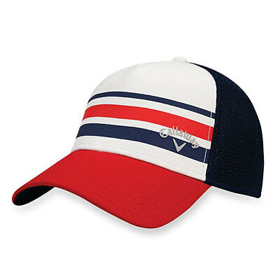 Callaway Golf Stripe Mesh Cap / Hat Fitted Size: L/Xl White/Navy/Red 18971