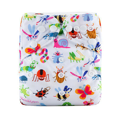 Modern Cloth Reusable Washable Baby Nappy Diaper & Insert, Rainbow Bugs