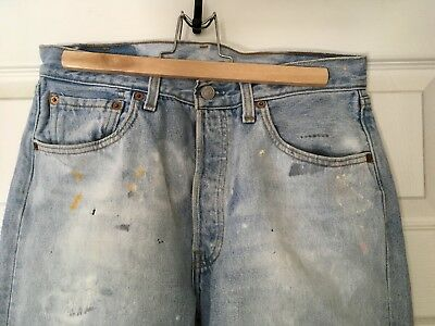Vintage Women's 501 Levis W32 Bleached Painted 100% Cotton Button Fly Straight