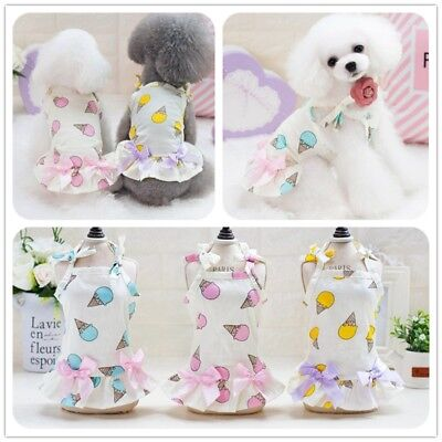 Small Dog Cat Dress Pet Clothes Tricolor Sweet Canister Braces Skirt Puppy Coat