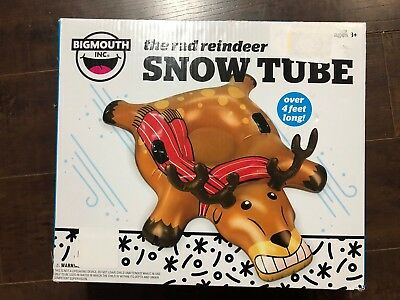 New The Rad Reindeer Snow Tube Tubing Pool Toy Float Bigmouth Inc 4 ft Wide
