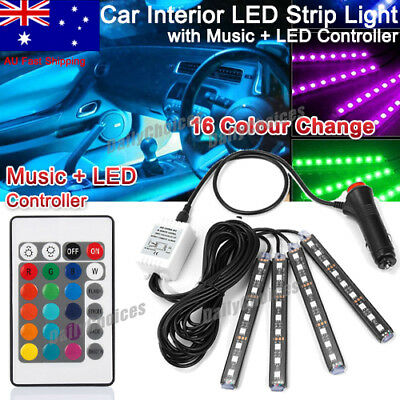 RGB 16 Color LED Neon Strip Light Remote Control For Car Interior Lighting