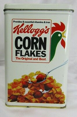Vintage Kellogg's Corn Flakes Cereal Tin Rooster Box LoOk! 1984