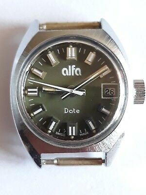 Vintage Rare Women's Swiss made ALFA date Green dial military 17 jewels watch