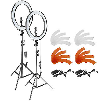 Neewer 2 Packs Studio 18-inch Outer Dimmable SMD LED Ring Light with Stand Kit