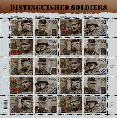 2000 33c Distinguished Soldiers, Sheet of 20 Scott 3393-96 Mint F/VF NH
