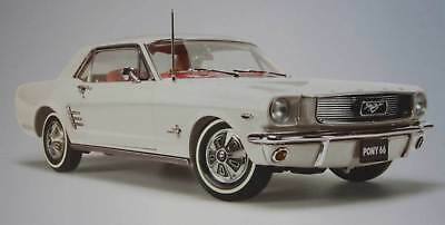 New Classic 1966 Ford Pony Mustang Wimbledon White With Red Interior 1:18