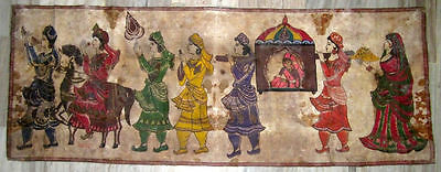 Vintage Old Indian Beautiful King And Queen Marriage Hand Oil Painting On Cloth