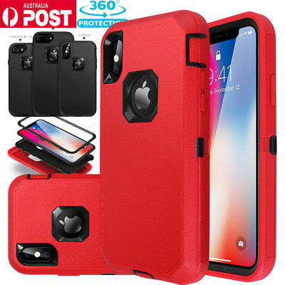F iPhone X 7 8 6s Plus Hybrid Shockproof Armor Rubber Protective Hard Case Cover