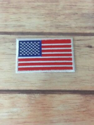 AMERICAN FLAG EMBROIDERED PATCH stick on WHITE BORDER US UNITED STATES SHOULDER