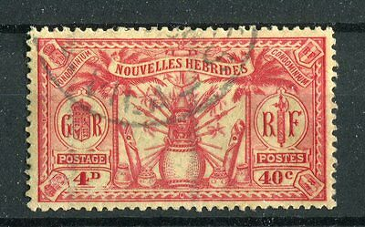 Nouvelles Hebrides KGV 1925 40c(4d) red on yellow SG.F47 used