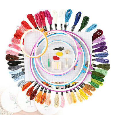 cross stitch kit Embroidery Beginners Starter Tool Plastic Hoop 36 Color Threads