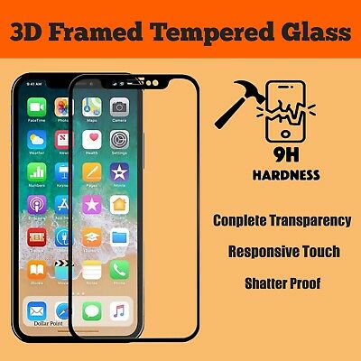 100% Genuine Tempered Glass Screen Protector For Apple iPhone X - BLACK