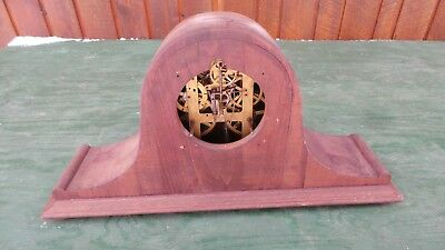 ANTIQUE Shelf Mantel Clock Has Old Wooden Case and Movement