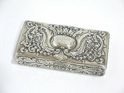 6 7/8 in - Sterling Silver Gilded Interior Tiffany & Co. Antique Crown Lions Box