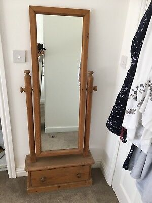 Full Length Free Standing Mirror Traditional Solid Antique Pine