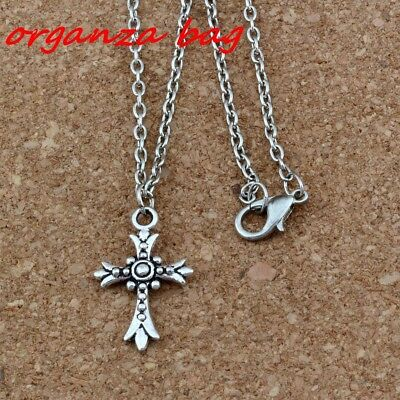 3pc Ancient silver Crucifix Cross Charm Pendant Necklaces 18inches Chain Jewelry