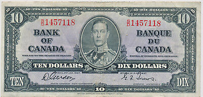 Bank Of Canada 10 Dollars 1937 Bc24B S/d - Vf
