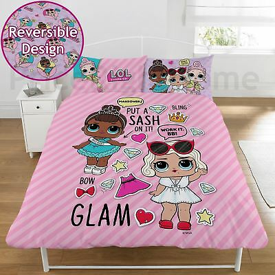 Lol Surprise Glam Double Duvet Cover Set Pink Childrens - 2 In 1 Design