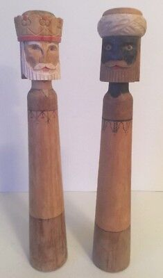 """Wise Men Candlesticks 10"""" Tall Hand Carved Wood Kings Magi"""