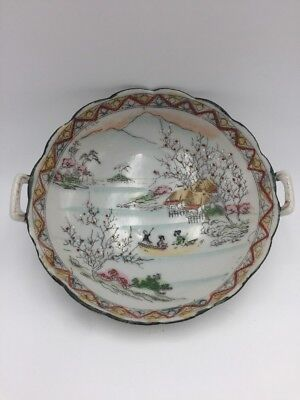 Vintage Hand Painted Bowl with Handles Scalloped Geisha Flowering Trees Scene