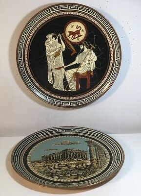 2 Vintage Greek Copper Wall Hanging Plate Hand Made In Greece