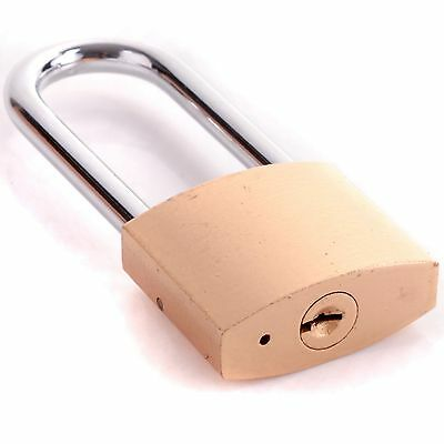 50mm LONG SHACKLE PADLOCK + 3 SECURITY KEY Hardened Steel Outdoor Safety Lock Up