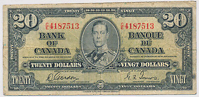Bank Of Canada 20 Dollars 1937 Bc25B C/e - Circ