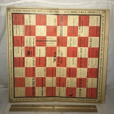 Antique Cortland Ny Farm Grocery Checkerboard Poster Sign Game Country Store Old