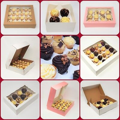 PREMIUM Mini Windowed Cupcake Boxes for 4, 6, 9, 12 & 24 Cup Cakes With Inserts