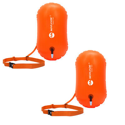 2Pc Safety Swim Buoy Swimming Upset Inflated Flotation Device for Open Water