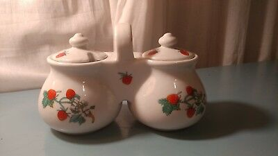 Vintage Ceramic Strawberry Double Jam/Jelly Dish
