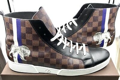3bdcef7dd9d3 LOUIS VUITTON LV Men s Brown Damier High Top Sneakers Size 12 ...