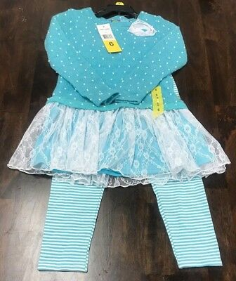 Nwt Dollie & Me Little Girl's Sweater Dress W/ Pants - Size 6