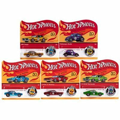 Complete Set Hot Wheels 50th Anniversary Originals of 5 cars with 50th Anniv. Bu