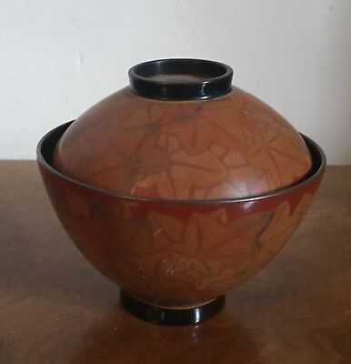 Japanese Traditional Lacquer Soup Rice Bowl & Cover Urushi Art Deco Signed